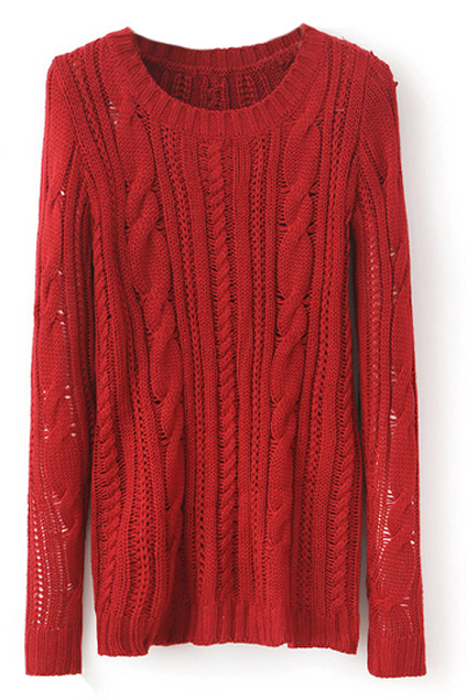 ROMWE | Buttonless Patched Red Jumper, The Latest Street Fashion