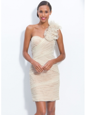 Buy Attractive Ivory Sheath One-shoulder Neckline Mini Homecoming Dress under 200-SinoAnt.com