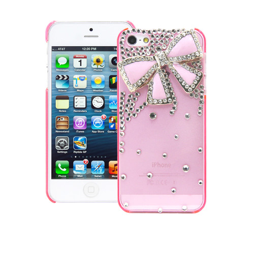 3D Bling Crystal Rhinestone Pink Bow Diamond Pink Case Cover for iPhone 5S 5 5g   eBay