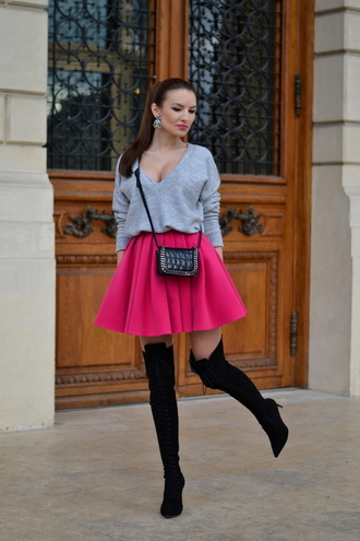 my silk fairytale blogger v neck circle skirt pink skirt grey sweater sexy sweater sweater skirt shoes bag jewels
