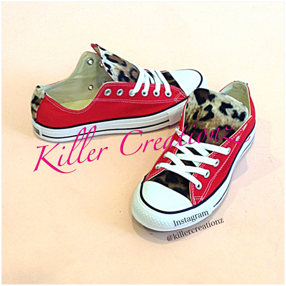 Custom Leopard low top Converse any color/size  by KillerCreationz
