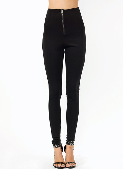 Just-Zip-It-High-Waisted-Pants BLACK - GoJane.com