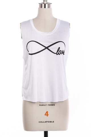 White Infinity Love Tank - Pink Elle Boutique