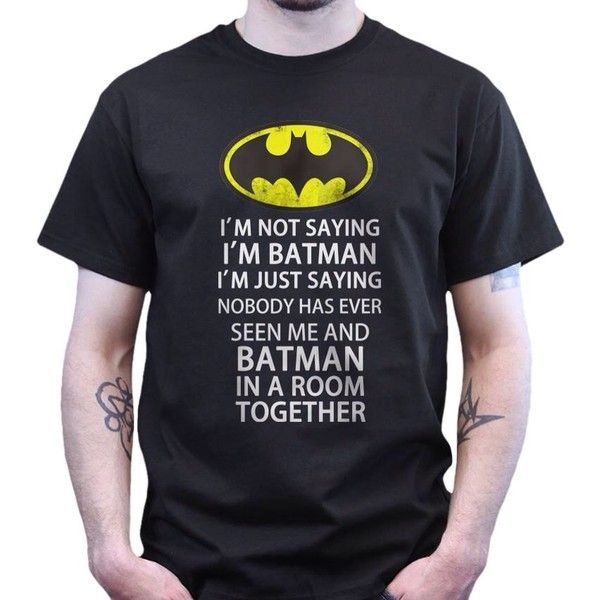 t-shirt black batman yellow quote on it