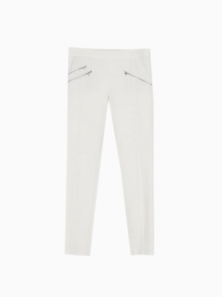 Vintage Free Draping Pants With Zippers In White   Choies