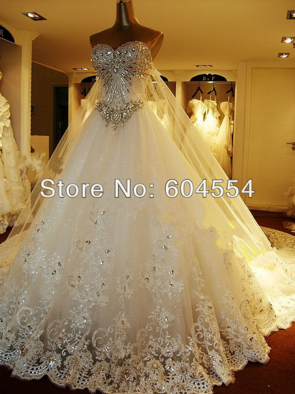 New Custom made Ivory/White Satin Tulle Lace Applique Beading Crystal Diamond A Line Wedding Dress Bridal Gown-in Wedding Dresses from Apparel & Accessories on Aliexpress.com