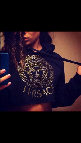 shirt crop tops versace top black top
