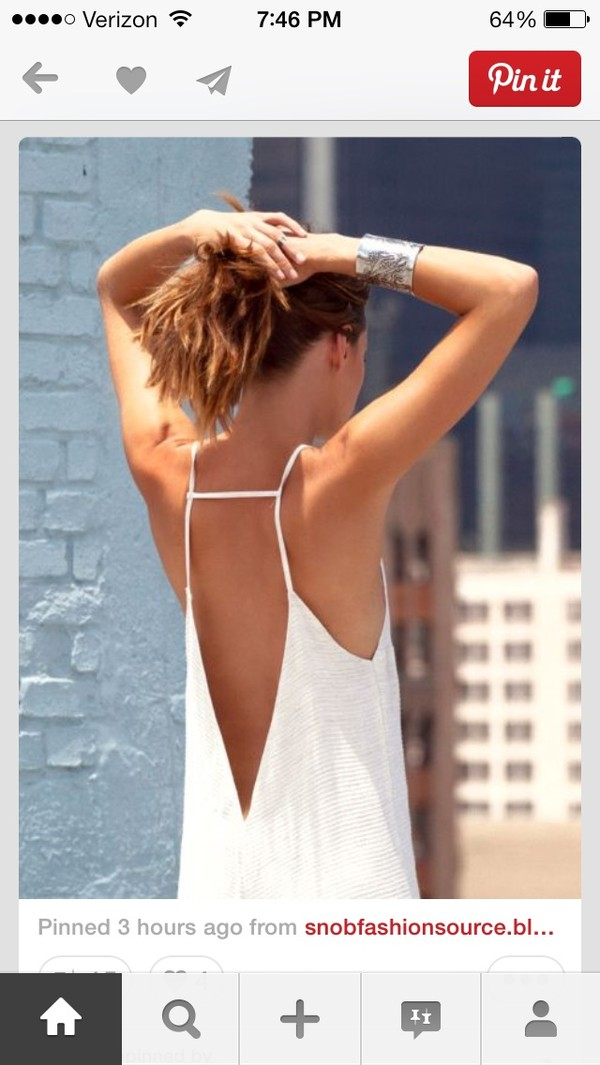 tank top white tank top summer open back open back top