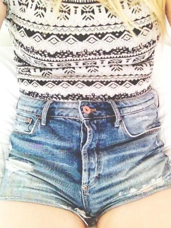 shorts denim shorts summer High waisted shorts shirt