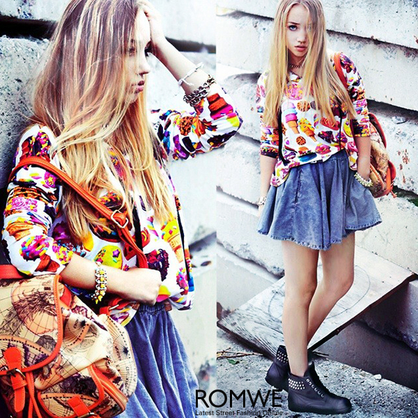 ROMWE | Biscuit & Ice Cream Print Hoodie, The Latest Street Fashion