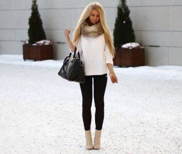 scarf black bag fur jewels shoes shirt fur scarf