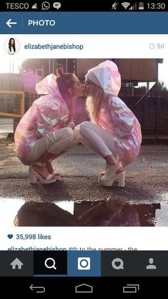 jacket tumblr outfit holographic raincoat shiny valentines day