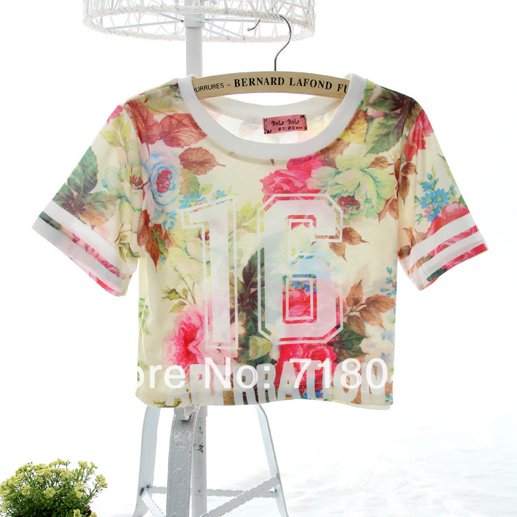 2014 Summer & Autumn Fashion Female 16 Rose Flower Print Cheap Crop Tops Young Girl Short T Shirt Short Sleeve Floral Clothing-inT-Shirts from Apparel & Accessories on Aliexpress.com