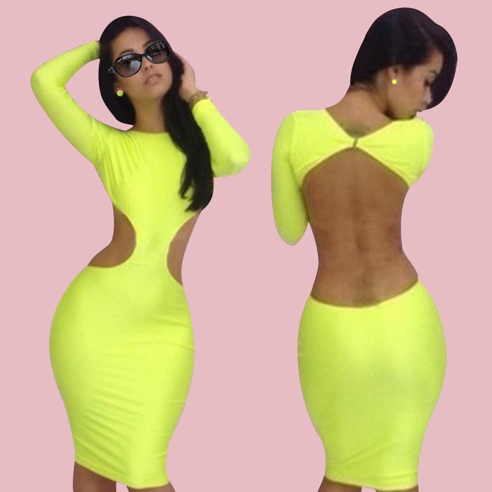 Backless Long Sleeve Bodycon Slim Fit Cocktail Evening Clubwear Bandage Dress US | eBay