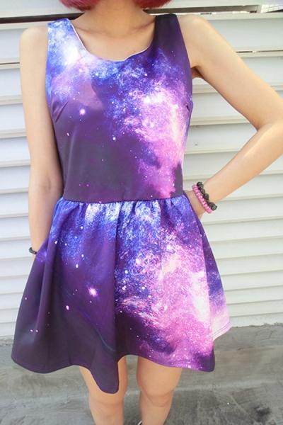 Galaxy Print Sleeveless A-line Dress - OASAP.com
