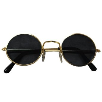 Amazon.com: Ladona Gold Frame and Black Lens Lennon Styles Sunglasses with Micro Case: Clothing