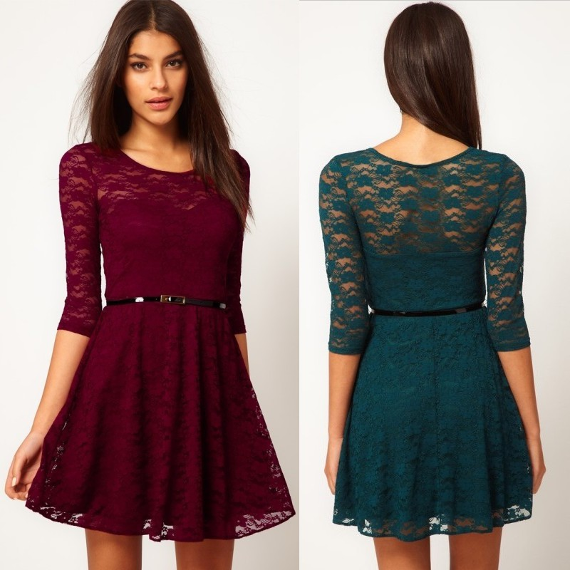 2014 Autumn Winter Hot Women Fashion Lace Casual Dress Half Sleeve Elegant One piece dress Woman With Belts High Street-in Dresses from Apparel & Accessories on Aliexpress.com
