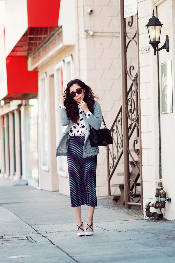 hallie daily sweater jacket blouse skirt