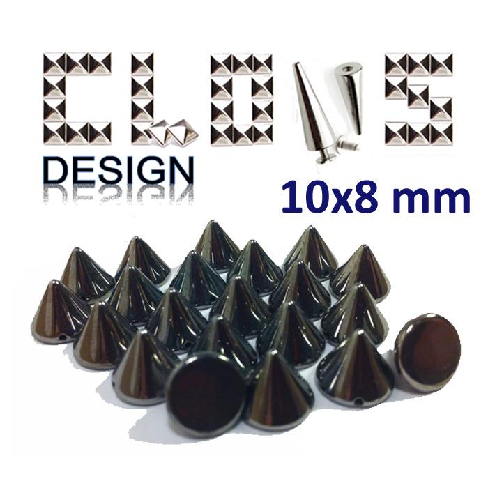 Clous customisation cône pic X30 NOIR ARGENT 10X8mm pour customiser vêtements  : Déco, Customisation Textile par clous-design-customisation