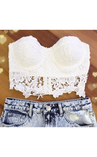 Limited Edition White Crochet Bralet Top -  from The Fashion Bible  UK