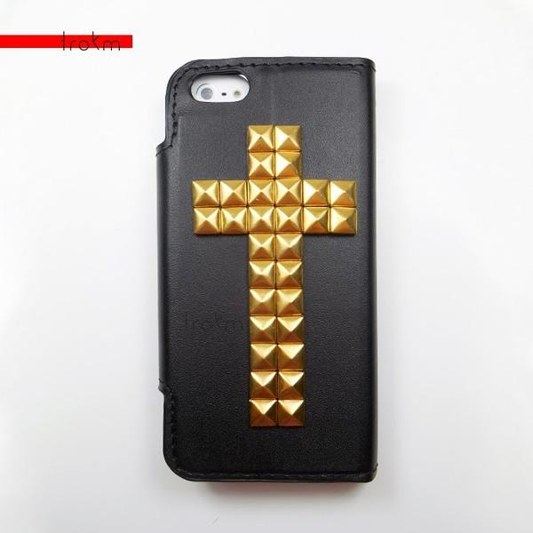bag cross gold cross iphone 5c phone cover wallet phone case gold studded phone case studs faux leather