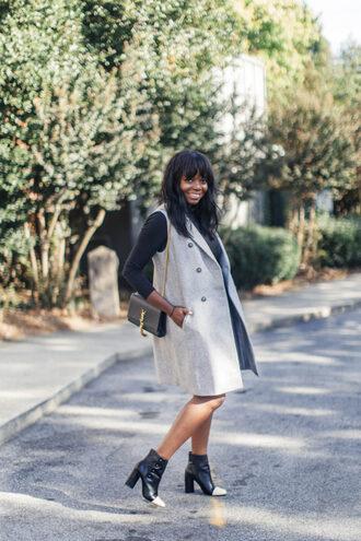 millennielle blogger jacket dress shoes bag vest ysl bag ysl ankle boots