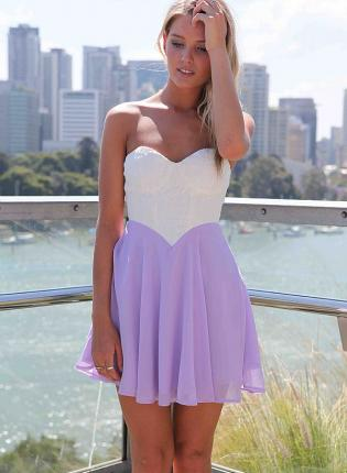 Purple Strapless Dress - White&Purple Strapless Dress with Lace | UsTrendy