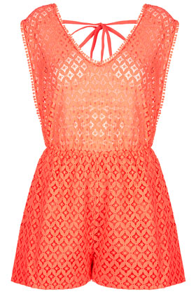 Tangerine Playsuit Cover Up - Topshop