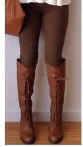 shoes knee high combat boots
