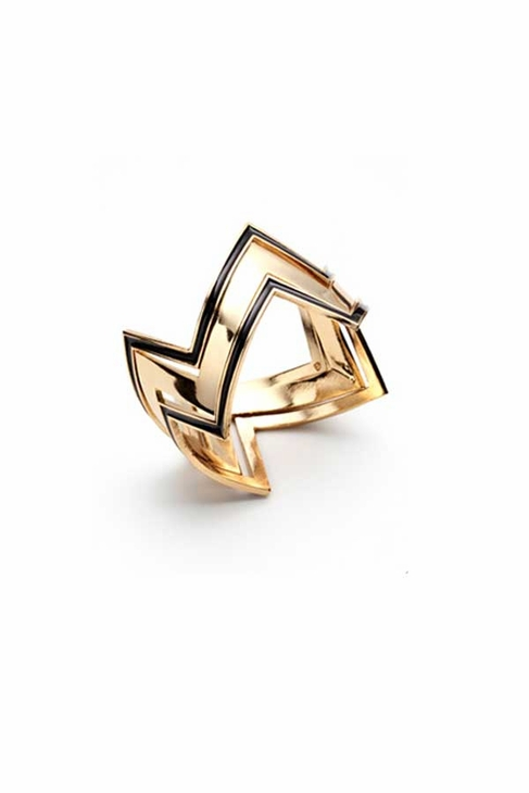House of Harlow 1960 Gold Three Stack Ring in Black