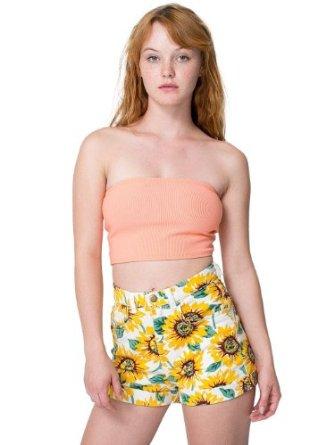 Short Taille-Haute en Jean à Imprimé Tournesol: Amazon.fr: Vêtements et accessoires