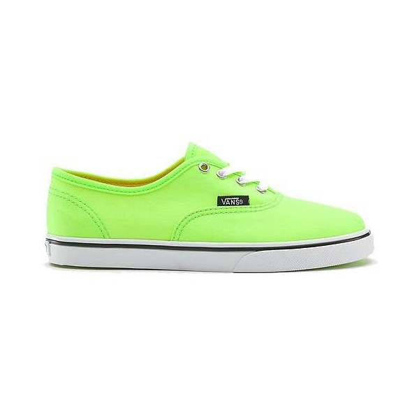 Canvas Authentic Lo Pro Womens Plimsolls By VANS (Neon Green) - Polyvore