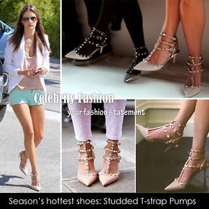 FL H 5 Celebrity Style Ankle T Strap Studded Pointy Toe Heel or Flat Sandals | eBay