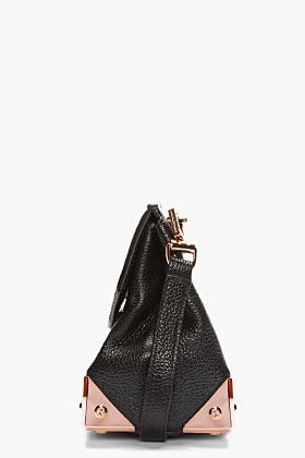 Alexander Wang Black Leather & Rosegold Marion Shoulder Bag for women | SSENSE