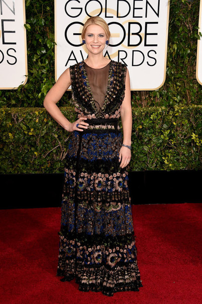 dress Valentino claire danes red carpet dress Golden Globes 2015 embroidered