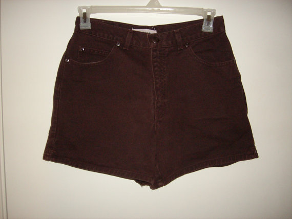 Vintage 1990s Brown High Waisted Denim Shorts by WildWahineVintage