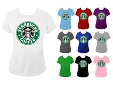 Womens Starbucks Coffee Green Logo Slogan Top T-shirt NEW UK 6-18 | eBay