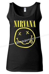Nirvana Tank Top Woman T Shirt Smiley Face Kurt Cobain Rock Band Cloth Poster | eBay