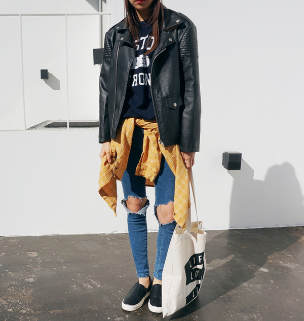 pants jeans jeans leather jacket jacket flannel tote bag tumblr girl model black white yellow shirt bag shoes trainers plimsolls vans sneakers blue cute long blue jeans blue pants denim leather long jacket