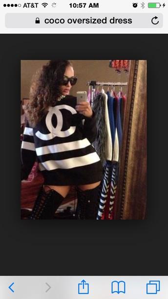 dress coco chanel sweater black heels black dress black top