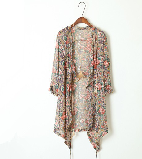 2014 Spring Summer Fashion Vintage Bohemia Loose Boho Faux Silk Ultra thin Chiffon Print Cardigan Sunscreen Beach Cardigan solar-inBlouses & Shirts from Apparel & Accessories on Aliexpress.com