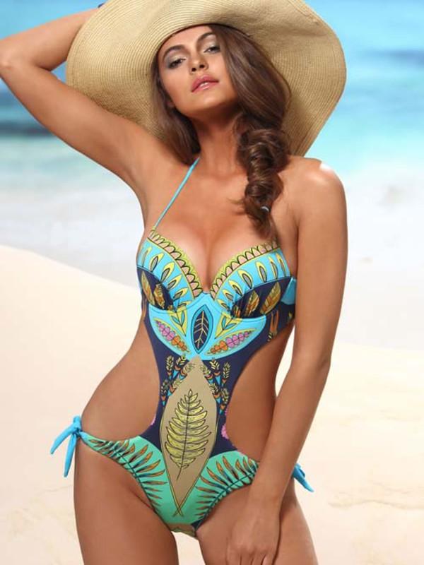 swimwear jolidon 2014 monokini underwire swim push up cups clothes bikini summer fashion beach print swimsuit women bathing suit