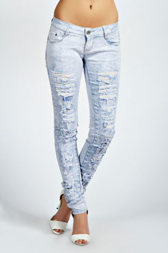 Avah Bleached Acid Wash Ripped Skinny Jeans at boohoo.com