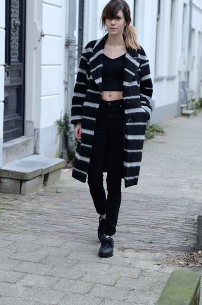 lovely by lucy blogger stripes winter coat black crop top black jeans coat top jeans