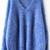 Royal Blue Long Sleeve V Neck Oversize Mohair Sweater - Sheinside.com