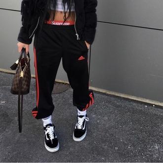 pants black adidas sweatpants  red straipes