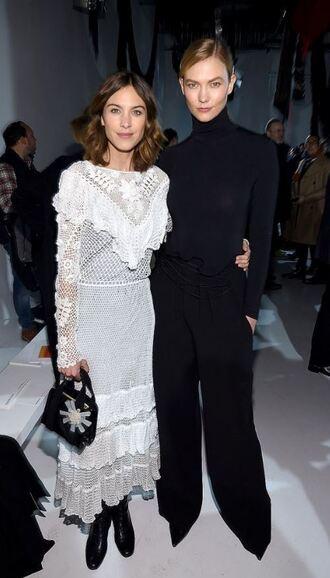 pants dress alexa chung model off-duty karlie kloss all black everything white white dress ny fashion week 2017 fashion week 2017 lace lace dress white lace dress turtleneck nyfw 2017
