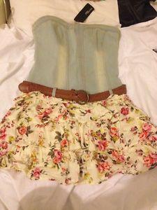 Jane Norman Floral Bandeu Denim Dress Size 12 Bnwt   eBay