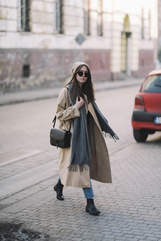 jestem kasia blogger coat jeans hat shoes scarf bag jewels beanie trench coat shoulder bag black bag winter outfits