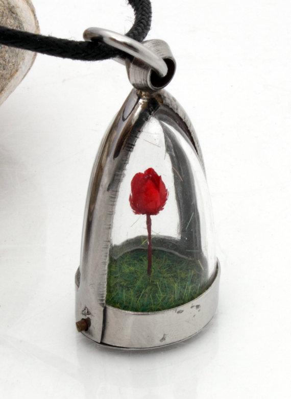 Miniature dried red rose terrarium dome locket by XercesArt